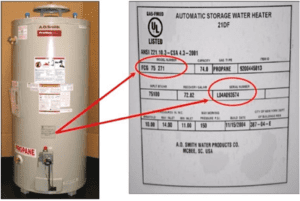 where to find the serial number on a hot water tank