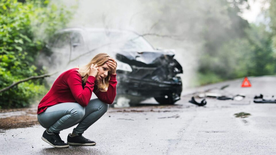 Driver on the phone after a Car Accident